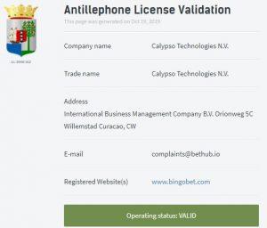 Bingobet lisans durumu: Aktif ✓